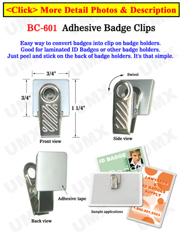 Adhesive Name Badge Clips With Adhesive Backs