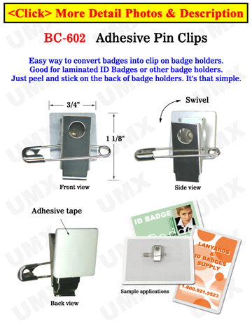 Adhesive Pin ID Card Clips With Metal Pins