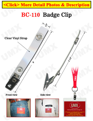 Extra Long Enhanced ID Card Strap Holders With Two-Holes ID Card Clips
