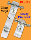 Safety Pin Plastic Badge Holder Straps With Metal Safety Locks BC-129/Bag-of-100Pcs