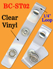 Plastic Loop Clear Vinyl Badge Holder Straps For Lanyard Straps, Strings or Cords BC-ST02/Bag-of-100Pcs