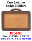 Brown Color Faux Leather Badge Holder - Horizontal Credit Card Size BH-1080/Per-Piece