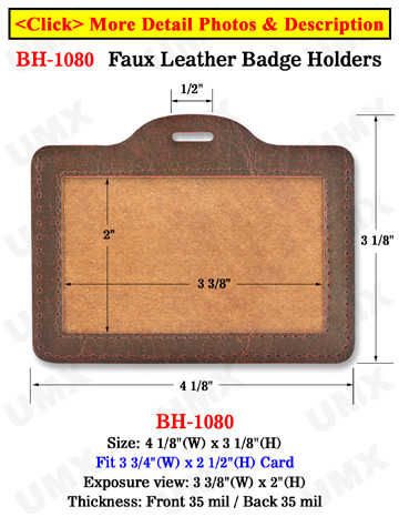 Brown Color Faux Leather Badge Holder - Horizontal Credit Card Size