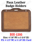 Big Size Faux Leather Name Badge Holder - Horizontal 4x3""