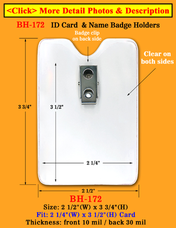 "Long Time Wear Clip-On Vertical ID Card Holder: 2 1/4""(W)x 3 1/2""(H) Credit Card Size"