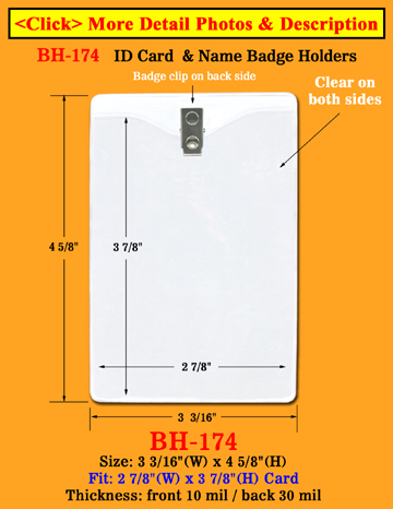 "Heavy Duty Clip-On Vertical ID Holder: 3""(W)x 4 1/2""(H)"