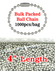"4"" Bulk Packed Ball Chains: Wholesale Bulk Order Metal Bead Chain Nickel Color LY-704BP/Bag-of-1000Pcs"