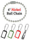 "Bag Tag Chains: Wholesale 4"" Nickel Color Key Tag Ball Chains"