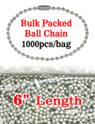 "6"" Bulk Order Wholesale Ball Chains: Bulk Packed Metal Bead Chains Nickel Color"