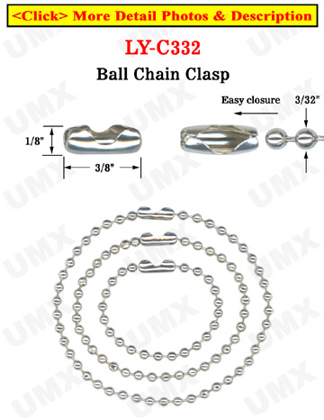 Wholesale Ball Chain Connectors: Ball Chian Necklace Clasps - 2.4mm Metal Bead Balls Nickel Finish