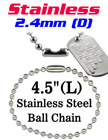 "Stainless Ball Chains - Retail Bag For Small Order -  2.4mm by 4.5"" Long"