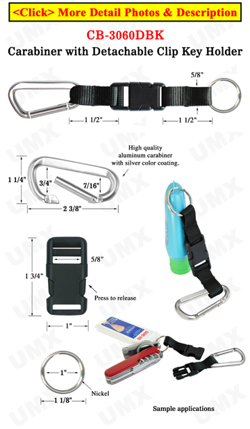 Carabiner Clips with Detachable Key Holder Straps