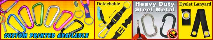 Carabiner Keychain Lanyards, Heavy Duty Metal Carabiners For Non-Reflective Industrial or Military Application