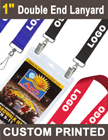 "1"" Promotional Logo Lanyards For Badges  with Two Clip Holes LY-100-DA/Per-Piece"
