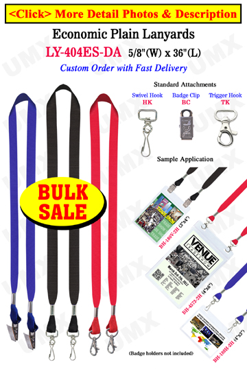 "5/8"" Economic Lanyards - Events Special  with Two Badge Clips or Hooks"