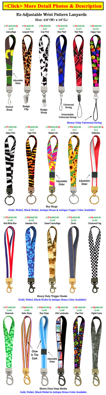 "Printed Wrist Lanyards: 5/8"" Ez-Adjustable Art Printed Wrist Straps"