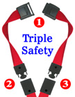 "5/8"" Ez-Adjustable Triple Safety Neck Lanyards With Three Safety Breakaway Buckles LY-503HD-TS-Ez/Per-Piece"