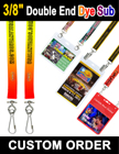 "3/8"" Custom Double Ended Lanyards With Dye Sublimated Custom Imprint LY-402-DA-Dye-Sub/Per-Piece"