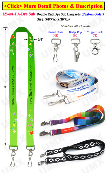 Custom Logo Two Ended Lanyards With Dye Sublimated Custom Imprint