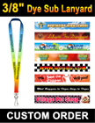 "3/8"" Custom ID Lanyards With Full Color Dye Sublimated Imprint LY-402-Dye-Sub/Per-Piece"