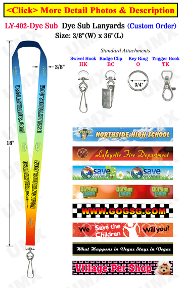 "3/8"" Custom ID Lanyards With Full Color Dye Sublimated Imprint"