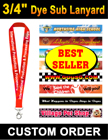 "3/4"" Best Seller Customized Badge Holder Lanyards with Dye Sub Custom Logo Imprinted LY-405-Dye-Sub/Per-Piece"