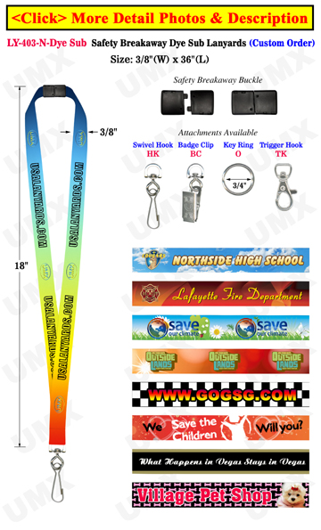 "3/8"" Safety Release Lanyards With Custom Dye Sublimated Imprint"