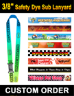 "3/8"" Safety Release Lanyards With Custom Dye Sublimated Imprint LY-403-R-Dye-Sub/Per-Piece"