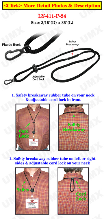 Braided Cord Safety Release Lanyards With Non-Swivel Plastic Hooks