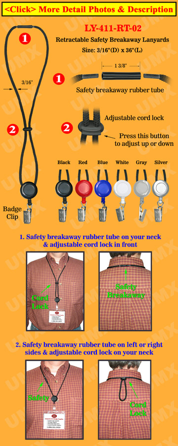 Retractable ID Holder Safety Lanyards With Badge Clips
