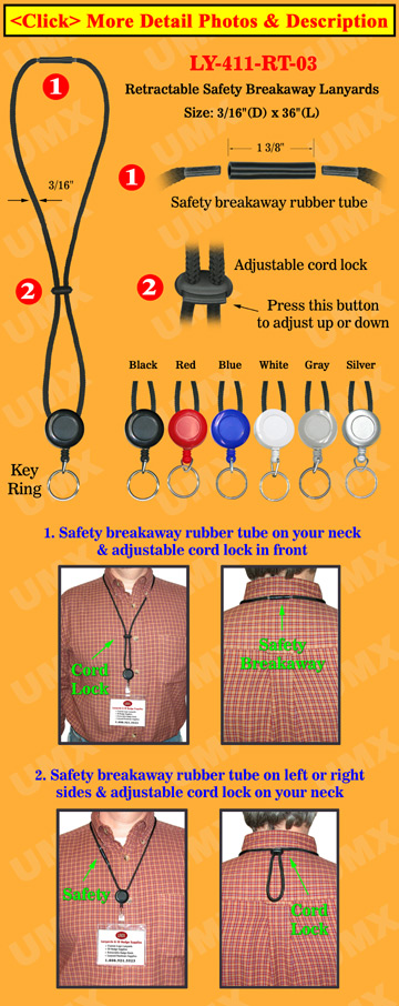Retractable Keychain Safety Lanyards With Split Key Rings