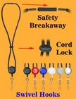 Retractable Safety Round Cord Lanyards With Metal Swivel Hooks