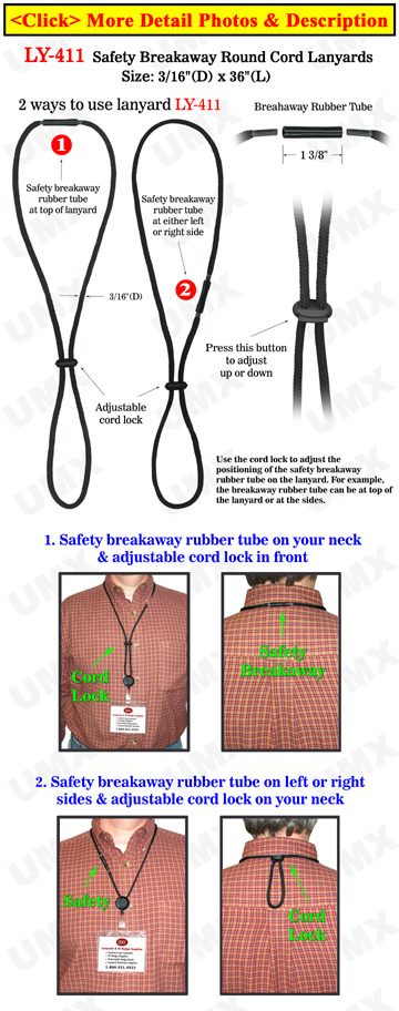 Rubber Tube Safety Breakaway Lanyards With Heavy Duty Round Cords