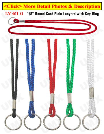 "LY-401-O 1/8"" Round Cord Plain Lanyards With Key Rings"
