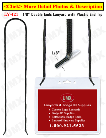 "LY-421 1/8"" Round Cord Lanyards With Two Heavy Duty Plastic End-Tips"