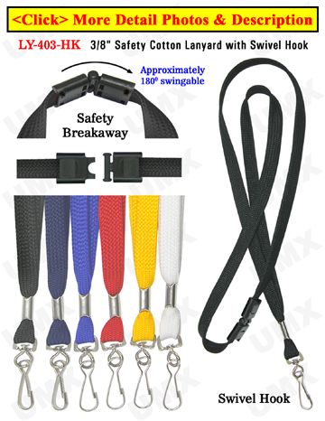 "LY-403-HK 3/8""Safety Plain Color Lanyards With Swivel Hooks"