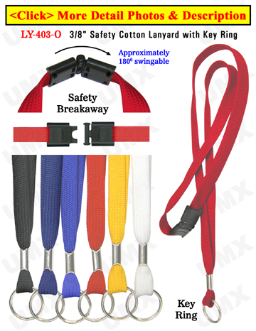 "LY-403-O 3/8"" Safety Break Away Plain Lanyards with Keyrings"