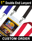 "1"" Big Sports Ticket Lanyards With Two Heavy Duty Hooks or Badge Clips LY-406-DA/Per-Piece"