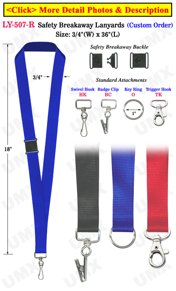 "3/4"" Corporate Safety ID Lanyards with Breakaway Protection"