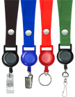 "Retractable Name Holder Lanyards: with 3/4"" Snap Closure Plain Color Neck Lanyard Straps LY-SC-RT-21/Per-Piece"