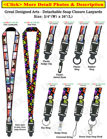 "Quick Release Lanyards: 3/4"" Pattern Printed Quick Release Neck Straps"