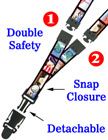 "Quick Release Double Secured Lanyards: 3/4"" Pattern Printed Quick Release Double Secured Neck Straps"