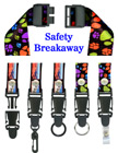 "Quick Release Safety Lanyards: 3/4"" Pattern Printed Quick Release Safety Neck Straps LY-P-SC-N-DB/Per-Piece"