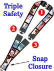 "Secured ID Lanyards: 3/4"" Pattern Printed Secured Identications, Safety ID Neck Straps LY-P-SC-TS/Per-Piece"