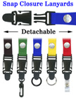"Detachable Lanyards: 3/4"" Neck Straps: Snap Closure ID Card Holders LY-SC-DB/Per-Piece"