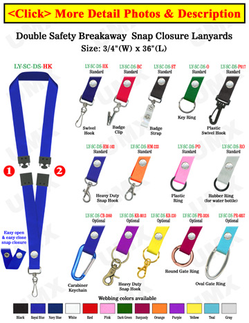 "Two Safety Lanyards: 3/4"" Breakaway Neck Straps: Snap Closure Identification Card Holders"