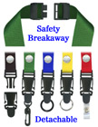"Detachable Safety Lanyards 3/4"" Neck Straps: Snap Closure Name Tag Holders LY-SC-N-DB/Per-Piece"