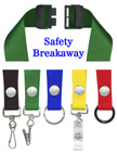 "Single Breakaway Lanyards: 3/4"" Safety Neck Straps: Snap Closure ID Holders LY-SC-N/Per-Piece"