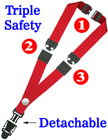 "Detachable Three Safety Lanyards: 3/4"" Breakaway Neck Straps: Snap Fastener Badge Holders LY-SC-TS-DB/Per-Piece"