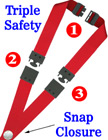 "Triple Breakaway Lanyards: 3/4"" Safty Neck Straps: Snap Closure ID Badge Holders LY-SC-TS/Per-Piece"